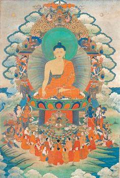 Buddha with Arhats. Tibet, circa 18th century.