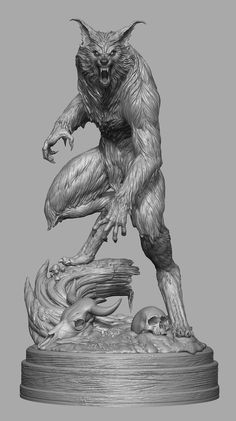 I had the awesome privilege to recreate a horror movie icon, the werewolf from The Howling. I was responsible for the entire ZBrush sculpt and the great Jerry Macaluso from PCS Collectibles provided terrific art direction (that fur! Dark Fantasy Art, Fantasy Kunst, Fantasy Creatures, Mythical Creatures, Werewolf Art, 3d Modelle, Vampires And Werewolves, Classic Monsters, Zbrush