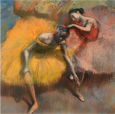 Edgar Degas Two Dancers in Yellow and Pink painting for sale - Edgar Degas Two Dancers in Yellow and Pink is handmade art reproduction; You can shop Edgar Degas Two Dancers in Yellow and Pink painting on canvas or frame. Degas Ballerina, Ballerina Painting, Pink Painting, Edgar Degas, Renoir, Degas Drawings, Degas Paintings, Landscape Paintings, Manet