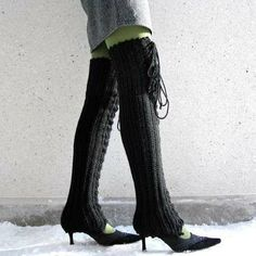 PLUS SIZE Laceup Thigh High legwarmers in by KnittingBombshell, $50.00