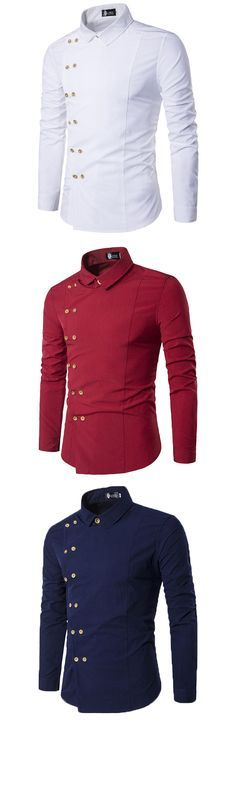 Slim Fit Men Shirts : Double Breasted / Long Sleeves / Solid Color