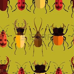 bug: Seamless pattern with colorful insects. Bug wallpaper. Vector illustration for printing onto fabric.