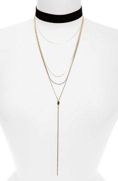 Loren Olivia Multi Chain Velvet Choker Necklace available at #Nordstrom
