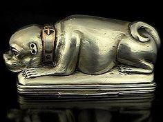 18th Century Antique Russian Silver Pug Dog Snuff Box    RomanovRussia on RubyLane