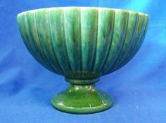Vintage Haeger Green Scalloped Pedestal Vase, USA Pottery  | eBay