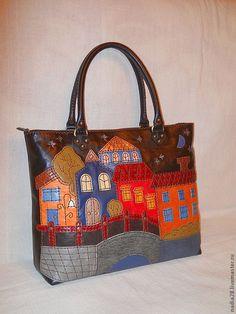 Сумка из кожи с аппликацией Город - сумка из кожи,Аппликация,сумка с а