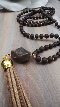 Brown tassel necklace. Boho necklace. by AllAboutEveCreations