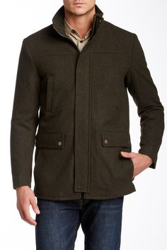 Wool Blend Zip Front Jacket by Kenneth Cole New York on @nordstrom_rack