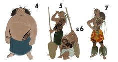 """Moana Visual Development, Part 2 """"The Brothers"""". At one point in the story development, Moana had 9 older brothers, who sailed off leaving Moana behind, and who Moana eventually had to..."""