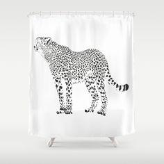 Cheetah - černá a bílá sprchový závěs