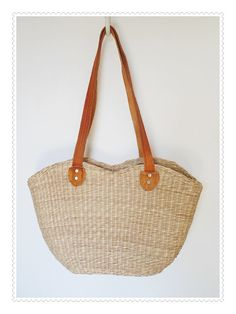 Vintage Thick Straw Bag or Tote with Suede Handles  by pursenbootz, $21.95