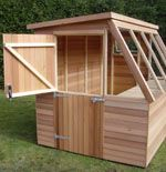 Greenhouse/Shed Combination - Cedarwood Potting Shed - Stable Door, Staging, Opening End Window, Standard Glass, Treated floor. The Cedarwood Potting Shed is treated with clear Cuprinol for longer life.