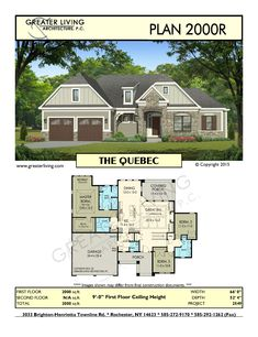 images about Ranch House Plans on Pinterest   Residential    Plan R  THE QUEBEC  House Plans Ranch House Plan   Greater Living Architecture