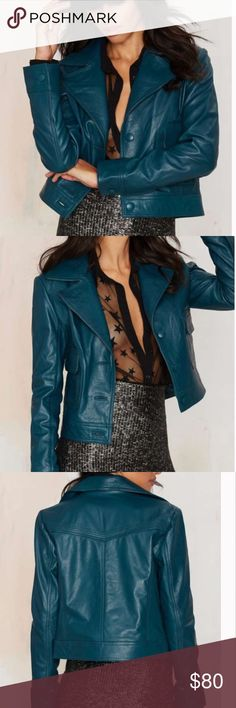 #4394  hustler leather jacket Get your hustle on, ladies. Our Hustler Jacket is made in emerald green leather and features a button-up front, notched lapels, flap pockets at front, ... Nasty Gal Jackets & Coats