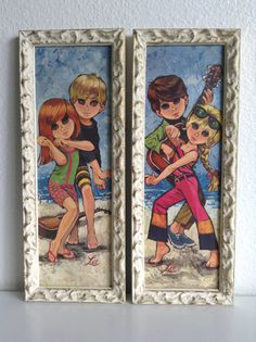 """4 Vintage Framed """"Big Eyed Children"""" Prints, by Lee Big Eyes Paintings, Wall Paintings, Vintage Frames, Vintage Cards, Dancing Dolls, Retro Baby, Beach Kids, Vintage Paper Dolls, Eye Art"""