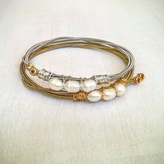 Rice Pearl Guitar String Bracelet in Gold or by JennyHallArt