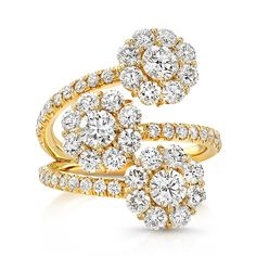Rahaminov Diamonds Triple Cluster Ring - Triple cluster bypass ring with Forevermark round brilliant diamonds accented with white diamond melee in 18kt yellow gold.