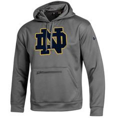 8b76b952570 Men s Under Armour Gray Notre Dame Fighting Irish Sideline Elevate Storm  Performance Hoodie Notre Dame Gear