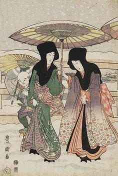 thekimonogallery: Two Women with Attendant in the Snow. Ukiyo-e woodblock print. About 1800, Japan. Artist Utagawa Toyokuni