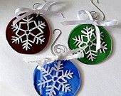 White Snowflake Fused Glass Ornaments