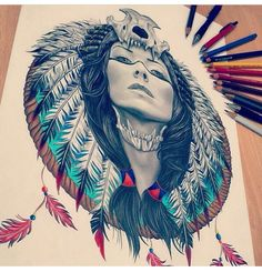 """Find and save images from the """"drawings and paintings"""" collection by sharyn on We Heart It, your everyday app to get lost in what you love. Et Tattoo, Tattoo Drawings, Body Art Tattoos, Art Drawings, Tattoo Art, Native American Tattoos, Native American Art, Guerrero Tattoo, Tattoo Gesicht"""