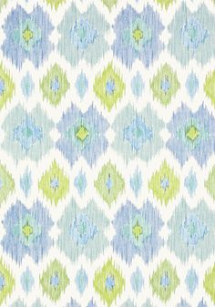 Bimini Ikat #wallpaper in #blue and #green from the Biscayne collection. #Thibaut #Ikat