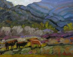 My favorite scene of grazing cows in Arroyo Seco, near Taos, New Mexico Art Paintings For Sale, Landscape Paintings, Original Art, Scene, Cows, Landscape Drawings