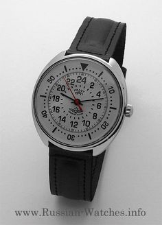 Russian 24-hours watch PILOT Raketa (white) | All Russian watches Ruby Jewel, Simple Watches, White Russian, Affordable Watches, Mechanical Watch, Pilot, Jewels, Band, Leather
