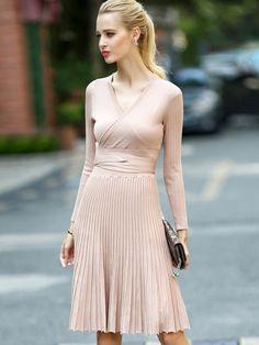 Shop Apricot V Neck Long Sleeve Tie-Waist Knit Dress online. SheIn offers…
