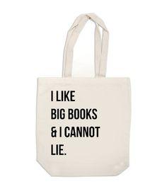 canvas bag - I Like Big Books and I Cannot Lie - tote bag screenprinted op Etsy, 11,13€