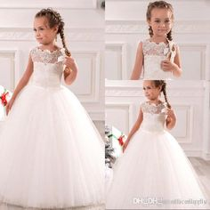 White Ivory First Communion Dresses Cute Little Girls Pageant Dresses Tulle Ball Gown Floor Length Flower Girls Dresses Bo9379 Green Flower Girl Dress Grey Flower Girl Dress From Allanhu, $75.61| Dhgate.Com
