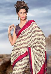 It is color this season and bright shaded suits are really something that is totally in vogue. This cream, deep pink and green faux georgette saree is nicely designed with floral, geometric print and patch bordered work. Saree gives you a singular and dissimilar look. Contrasting dusty purple blouse is available. Slight color variations are possible due to differing screen and photograph resolution.