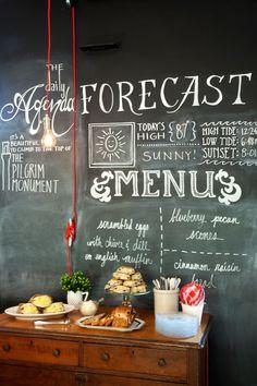 Breakfast Menu Board @ Salt House Inn, Provincetown, Massachusetts, designed by Kevin O'Shea Designs, LLC