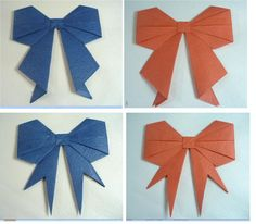 DIY Origami Paper Bows - Great idea for an ornament, scrapbooking, or wrap a present with it.