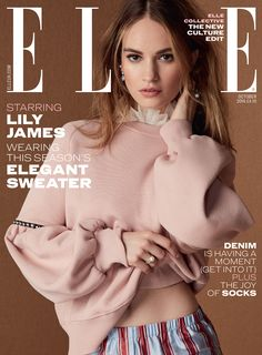 My Burberry campaign star Lily James wearing the new Burberry September collection on the October cover of ELLE UK
