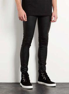 Black Leather Look Biker Spray On Skinny Jeans