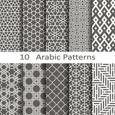 10 Black Arabic patterns vector background