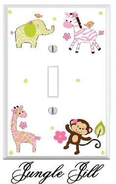 JUNGLE JILL girl zebra elephant electrical by Pinksugarcouture. $9.00 USD, via Etsy.