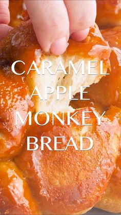 Caramel Apple Monkey Bread Recipe - Ooey gooey sticky bread filled with cinnamon sugared apples. Perfect for entertaining and makes the best fall treat. food for party videos appetizers dip recipes Caramel Apple Monkey Bread Apple Recipes, Pumpkin Recipes, Fall Recipes, Bread Recipes, Baking Recipes, Dessert Recipes, Vegan Pumpkin, Healthy Recipes, Mr Food Recipes