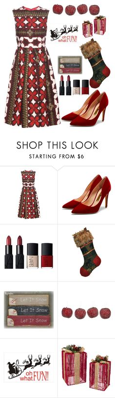 """Happy Holidays"" by kotnourka ❤ liked on Polyvore featuring Valentino, Rupert Sanderson, NARS Cosmetics, Amara and Grasslands Road"