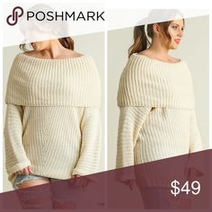 Fold Over Ribbed Sweater Soft n luxurious knit sweater to wear with your favorite jeans n boots! Loose fitting sweater! Sweaters