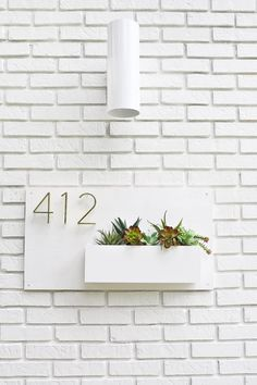 Understated House Number Plaque with Planter