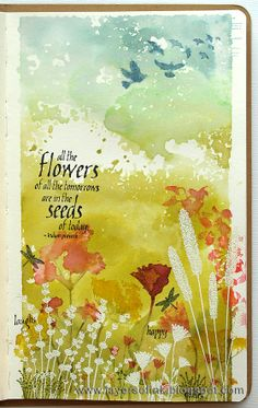 Layers of ink - Field of Flowers Art Journal Page