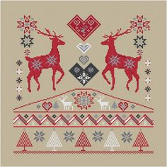 FAIRISLE STAGS  christmascross stitch by anetteeriksson on Etsy