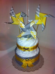 Pinwheel yellow & gray diaper cake
