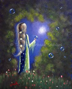 ORIGINAL PAINTING shawna erback FAIRY TALE FANTASY long braided hair GORGEOUS