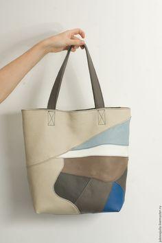 Купить Сумка разноцветная из натуральной кожи из лоскута пакет шоппер - комбинированный, сумка ручной работы