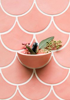 Use Pantone's Color of the Year with Grapefruit Glaze Pink-Tile-Statement-Wall-With-Planter Tile Projects, Ceramic Wall Planters, Handmade Tiles, Wall Planter, Mermaid Tile, Custom Planters, Pink Tiles, Tile Inspiration, Pink Walls