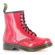 Dr.Martens 1460W Red Patent Leather Womens Boots Size 8 US