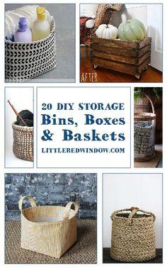 20 DIY Storage Bins, Boxes and Baskets you can make yourself! | littleredwindow.com